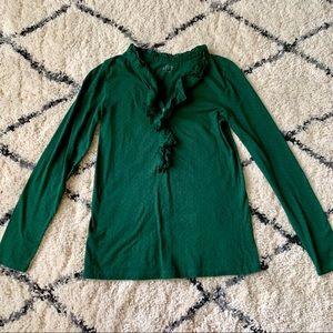 Loft Green Ruffle Neckline Polkadot Long Size S